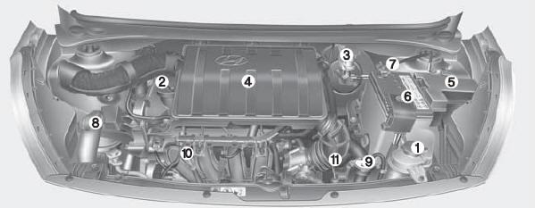 hyundai grand i10 compartiment moteur entretien manuel du conducteur hyundai grand i10. Black Bedroom Furniture Sets. Home Design Ideas