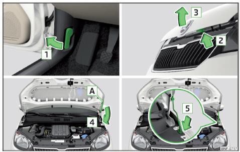 skoda citigo ouverture et fermeture du capot moteur compartiment moteur contr le et appoint. Black Bedroom Furniture Sets. Home Design Ideas
